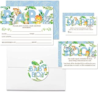 """Deluxe Watercolor Jungle Animals Baby Shower Party Bundle for Boys, Includes 20 Each of 5""""x7"""" Fill in Invitations, Diaper Raffle Tickets, Bring a Book Cards & 2"""" Thank You Favor Stickers w/Envelopes"""