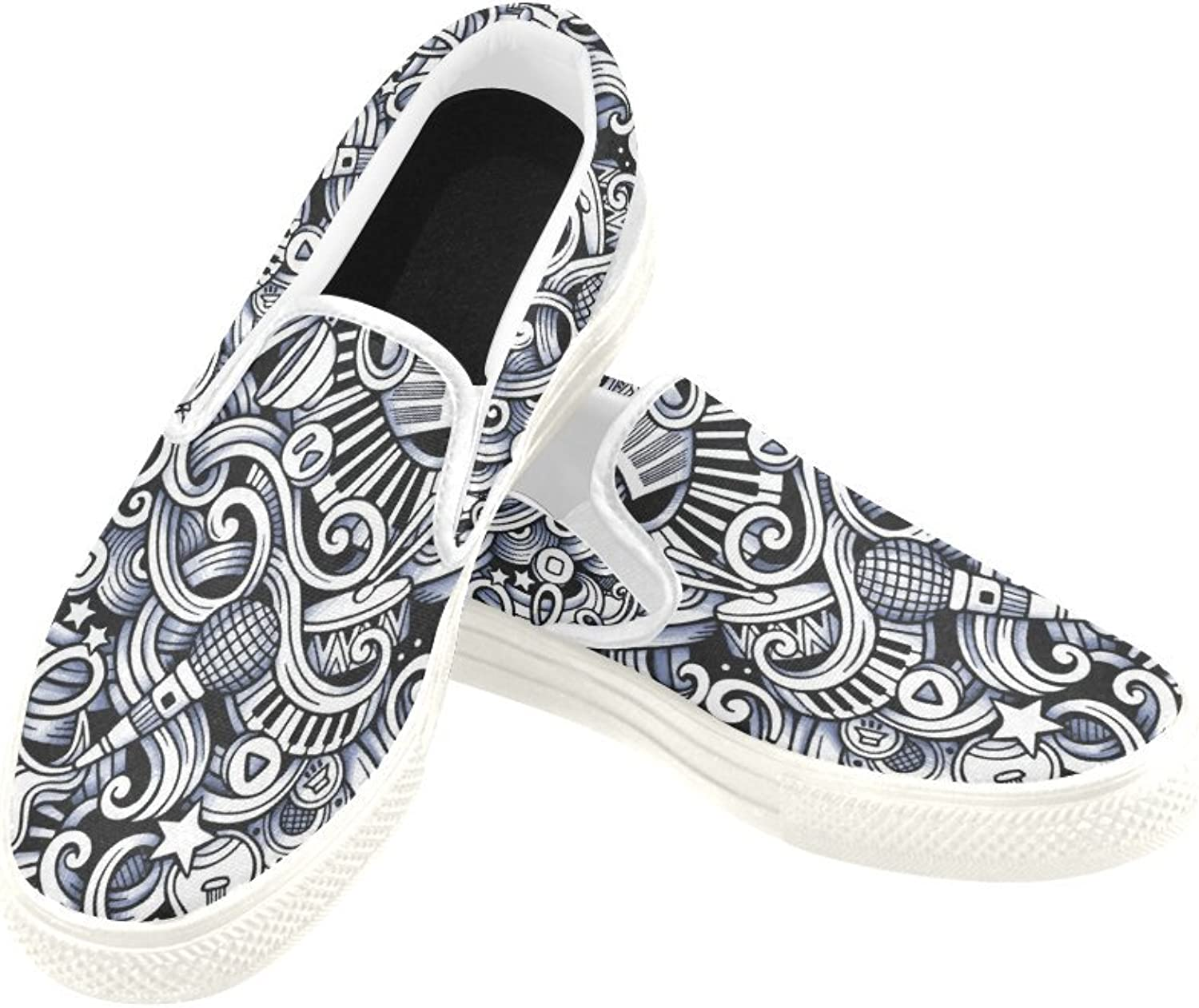 InterestPrint Womens Slip On Canvas shoes Loafers Music Style Girls Classic Casual Sneakers Flats