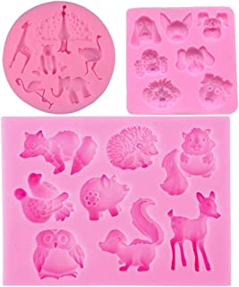 3D Silicone Various Animals Shape Moulds Fondant Nonstick Baking Cake Mold Chocolate Cupcake Baking Mold Muffin Cup Soap Mould Candy Jelly Ice Cookies Pudding Molds (Animals Silicone Fondant Molds)