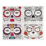 Halloween Temporary Face Tattoo,Day of The Dead Sugar Skull Face Temporary Tattoo Halloween...