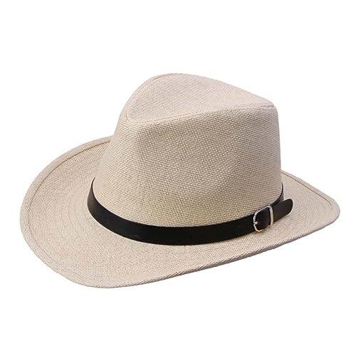 5c245f29f24 Internet Summer Mens Straw Hat Cowboy Caps (Beige)