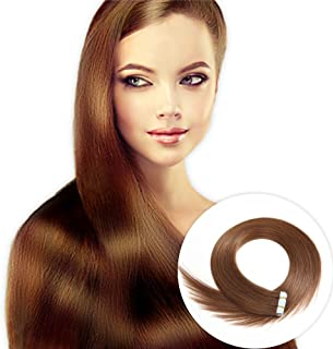 Tape in Human Hair Extensions 22 inches 20pcs 50g Silky Straight Human Hair Extensions Color No.6 Chestnut Brown