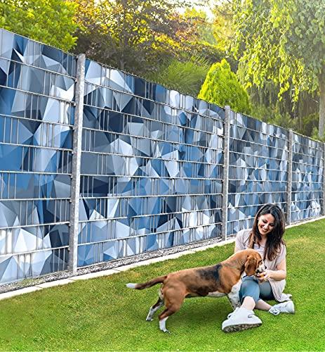 MyMaxxi Infinity Zaunsichtschutz | Cammo Blau Motiv| Sichtschutzstreifen für Doppelstabmattenzaun | Windschutz Sonnenschutz Blickdicht | Polyester Gewebe Garten | Plane Balkon Sichtschutz