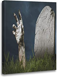 Meofo Canvas Print Wood Frame 12x16 Inches Zombie Hand Coming Out His Grave Artwork Wall Art Gift Decoration All Scenes