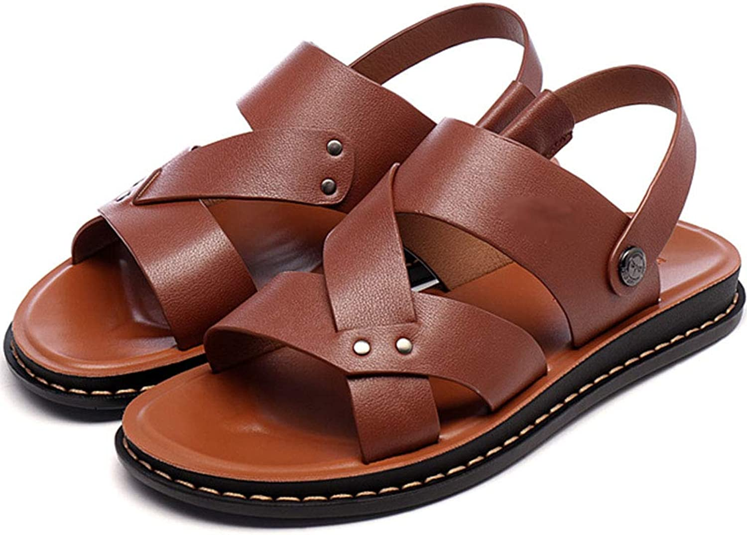 Men Summer Sandals Leather Outdoor Sports Hiking Trekking Sandals Fisherman Beach shoes Open Toe Casual Walking shoes Antiskid Flat Slides Sandals,Brown,40