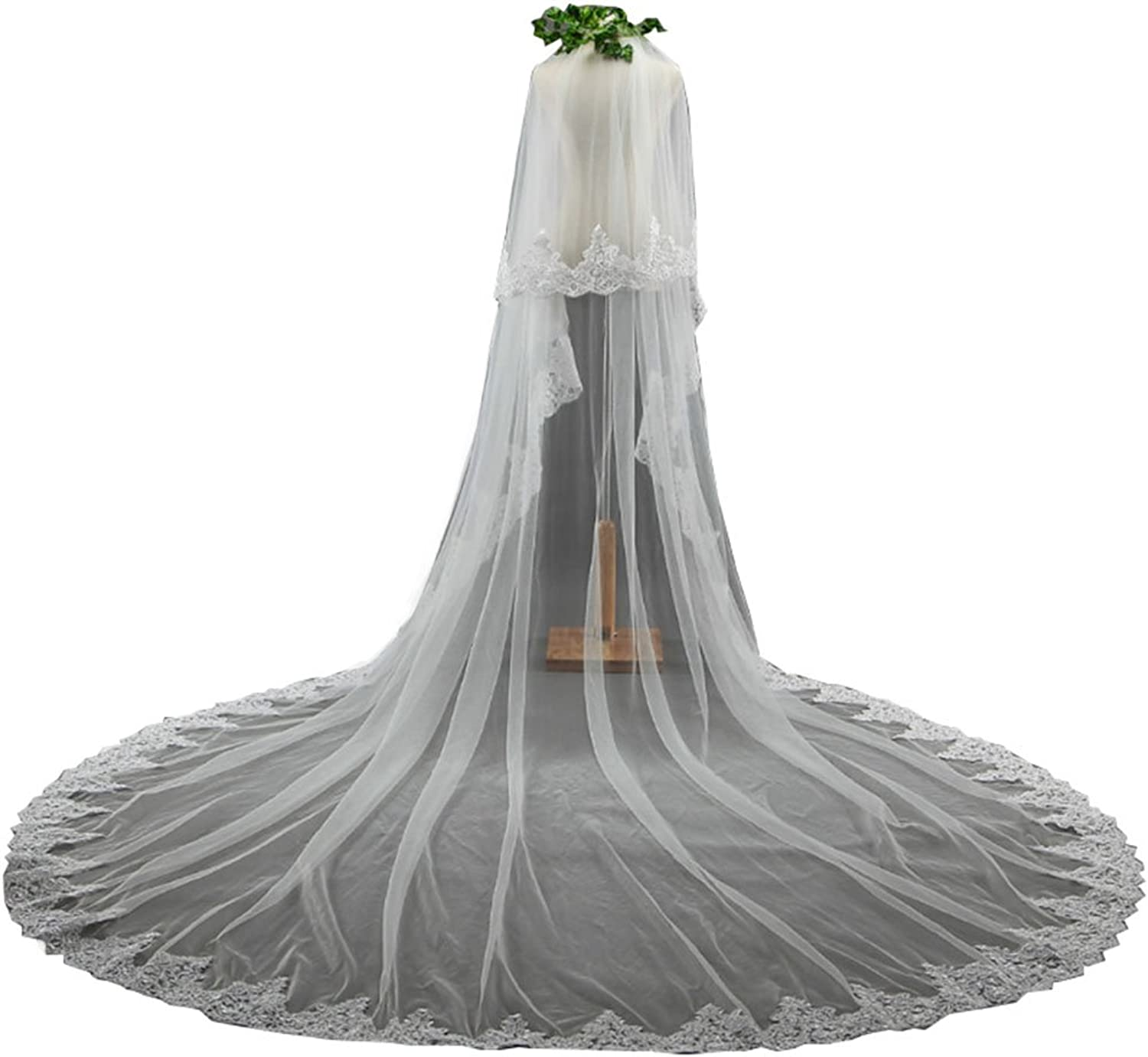 Beautydress 2T White Ivory Appliqued Lace Edge Long Cathedral Wedding Veils Free Comb BP078