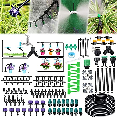 Jeteven Garden Irrigation System, 132ft/40m 163PCS Drip Irrigation Kit, 1/4' Blank Distribution Tubing, Automatic Irrigation Equipment Set with Adjustable Nozzle for Greenhouse Flower Bed Patio Lawn
