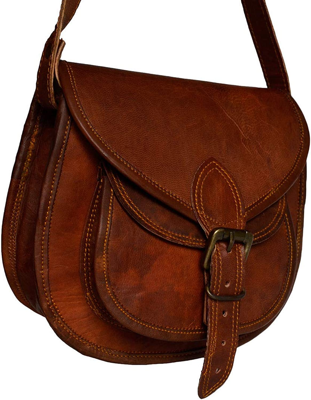 Leather Castle Vintage Satchel Messenger Crossbody Shoulder Handbag Women Girls (Medium  9x11 inch)