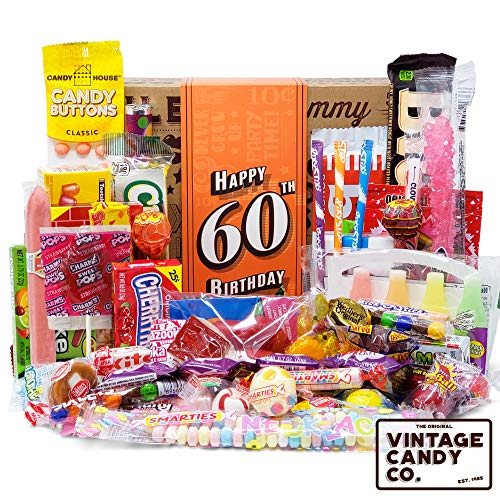 VINTAGE CANDY CO. 60TH BIRTHDAY RETRO CANDY GIFT BOX - 1960 Decade Nostalgic Candies - Fun Gag Gift...