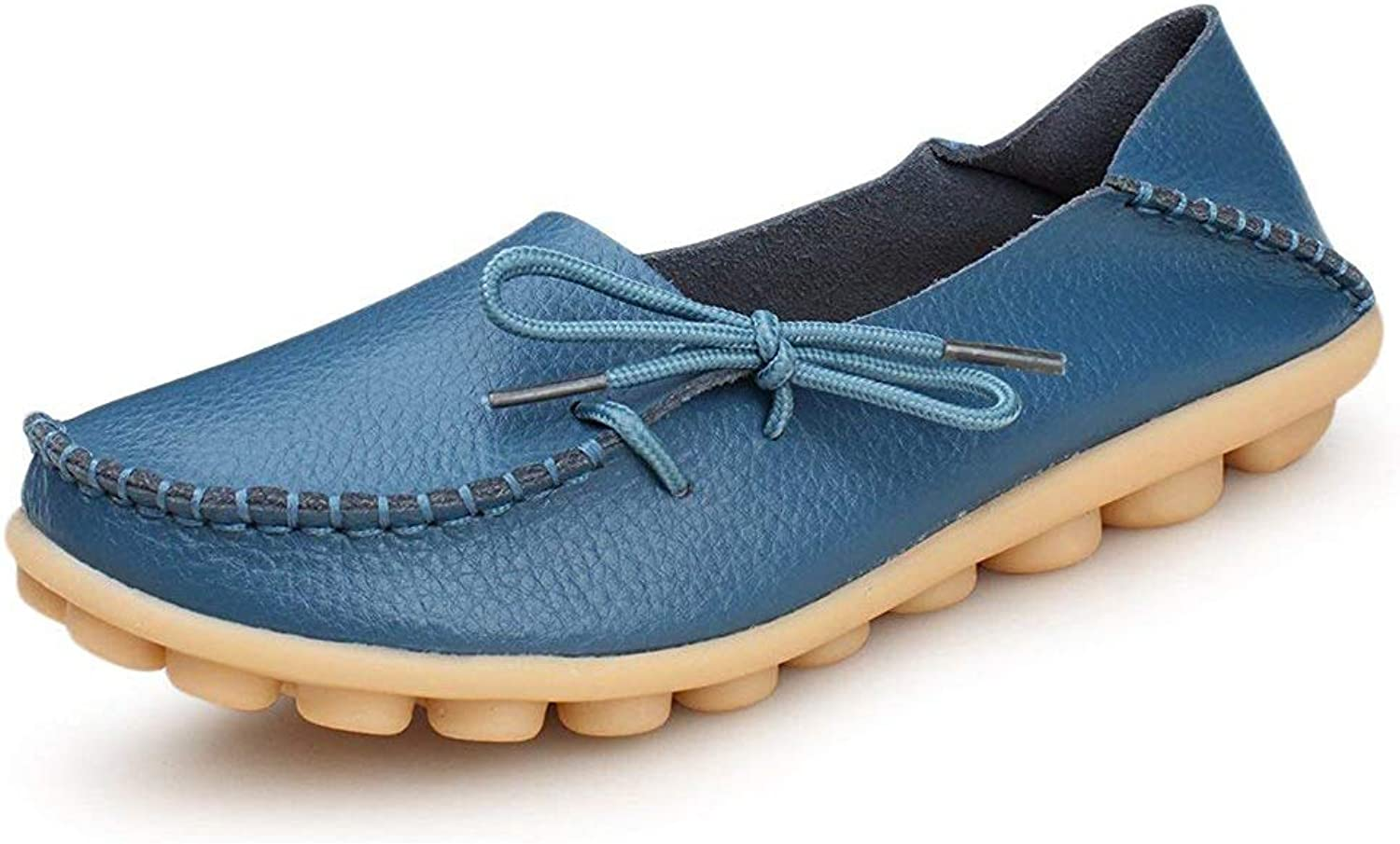 Vaganana Women's Leather Loafers Wild Driving Casual Flats shoes bluee