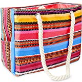 Odyseaco Canvas Beach Bags for Women - Baja Bohemian Beach Bag Canvas Bags with handles - Sandproof & Waterproof Bag for Travel, Weekender Bag & Overnight Bag – Large, Baja