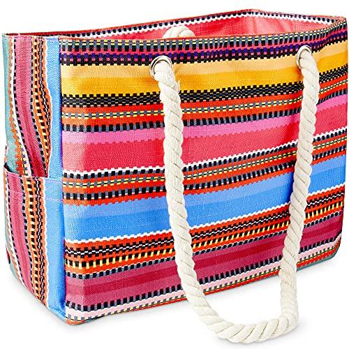 Odyseaco Canvas Beach Bags for Women - Baja Bohemian Beach Bag Canvas Bags with handles - Sandproof & Waterproof Bag for Travel,...