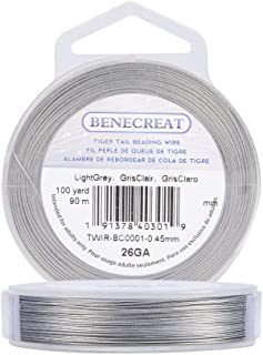 BENECREAT 300-Feet 0.018inch/0.46mm Tiger Tail Beading Wire 7-Strand Bead Stringing Wire