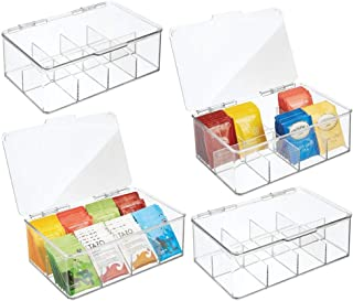 mDesign Zestaw 4 plastikowych organizer kuchenny – praktyczne pudełko do przechowywania z 8 przegródkami i pokrywą na zawi...