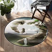 Fantasy Carpet mat Surrealistic Dreamland Natural Stoned Bridge to Lighthouse Fairytale World Floor Mat Home Decoration Supplies D60 Inch