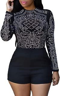 Eiffel Women's Studs Sheer Mesh Stretchy Long Sleeve Crop Tops Blouse Shirts