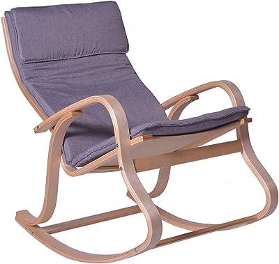 PEGANE Rocking Chair en Bouleau Coloris Gris - Dim : H.97 x L.65 x P.87 cm