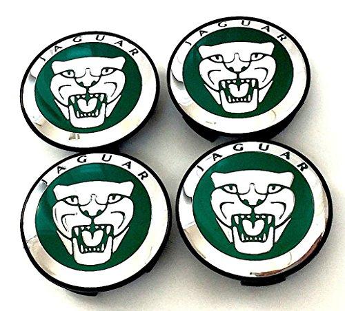 4er-Set Radkappen, Jaguar-Logo, 59 mm, Alufelgen-Abdeckkappe, Rad-Mittelkappen, für XJ, XJR, XJ6, XF, F, X, S, F-Typ, S-Typ, X-Typ und andere Modelle, Grün