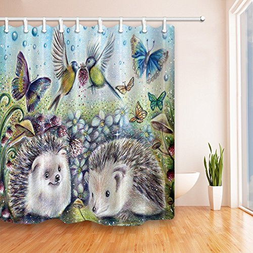 Rideaux de douche pour décoration animale Par KOTOM Cartoon Illustration Style Cute Hedgehog Fleurs de fleurs d'oiseaux pour les enfants Light Blue GrayBath Curtains, 69X70 Inches