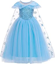 OwlFay Elsa Frozen Costume Girls Princess Fancy Dress Snow Queen Party Cosplay Halloween Dress up Outfit 4-15 Years