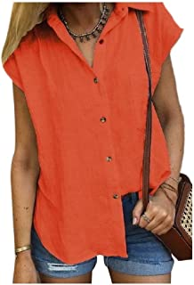 RkYAO Women Solid Weekend Sleeveless Button Blouses and Tops Shirts
