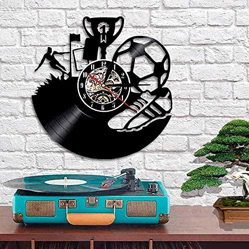 SSCLOCK Trofeo de fútbol Reloj de Pared Vinilo Equipo de fútbol Campeón Aficionado a los Deportes Regalo Mural Botas de fútbol Mural