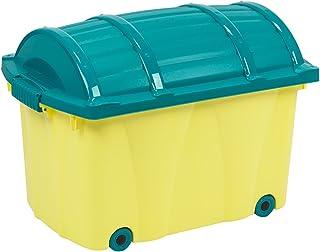 Piratlåda från OKT 42 L rullbar leksakslåda leksak – låda låda rulllåda rullbox förvaringslåda barnrum gul/turkos