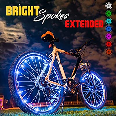 Bright Spokes Premium LED Bike Wheel Lights (1 Tire) - 7 Colors in 1 - USB Rechargeable Battery - Strong Silicone Tube Cover - 18 Modes