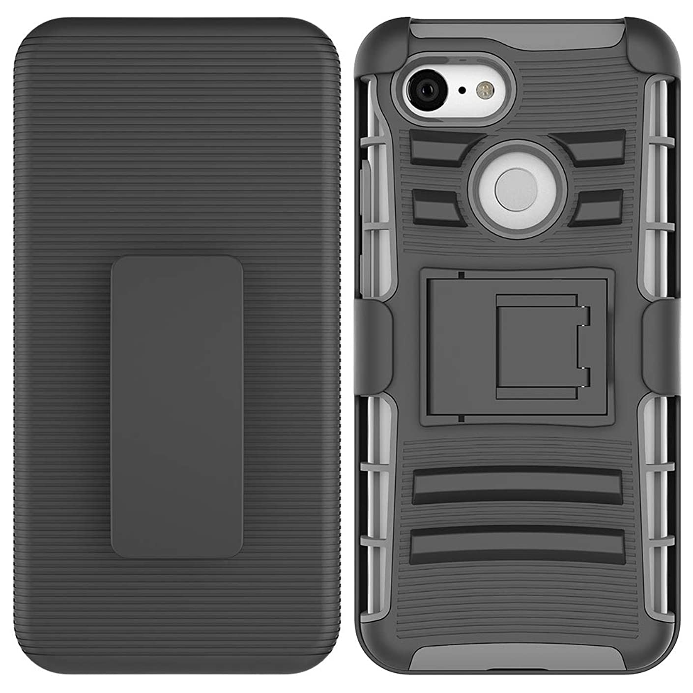 HYAIZLZ Case for iPhone XIR Armor Case 3 in 1 Stand Holster Combo Back Cover with Swivel Spring Belt Clip Back Cover for iPhone XIR 6.1inch,Grey