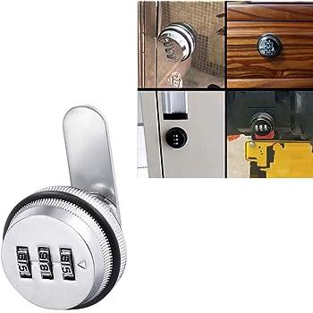 Cerradura mecánica de la leva de la contraseña, Camlock de la combinación de 3 dígitos, cerradura del gabinete del archivo, para la caja fuerte del guardarropa buzón de correo, plata (1pcs)