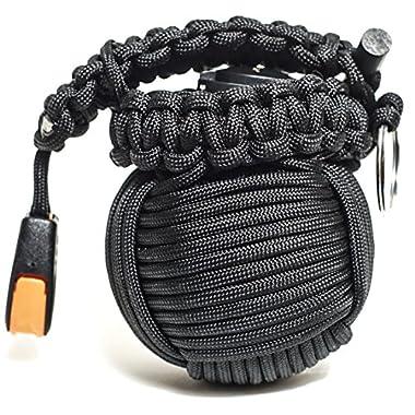 Holtzman's Survival Kit Paracord Grenade #1 BEST Outdoor Wilderness Emergency Kit (Black)