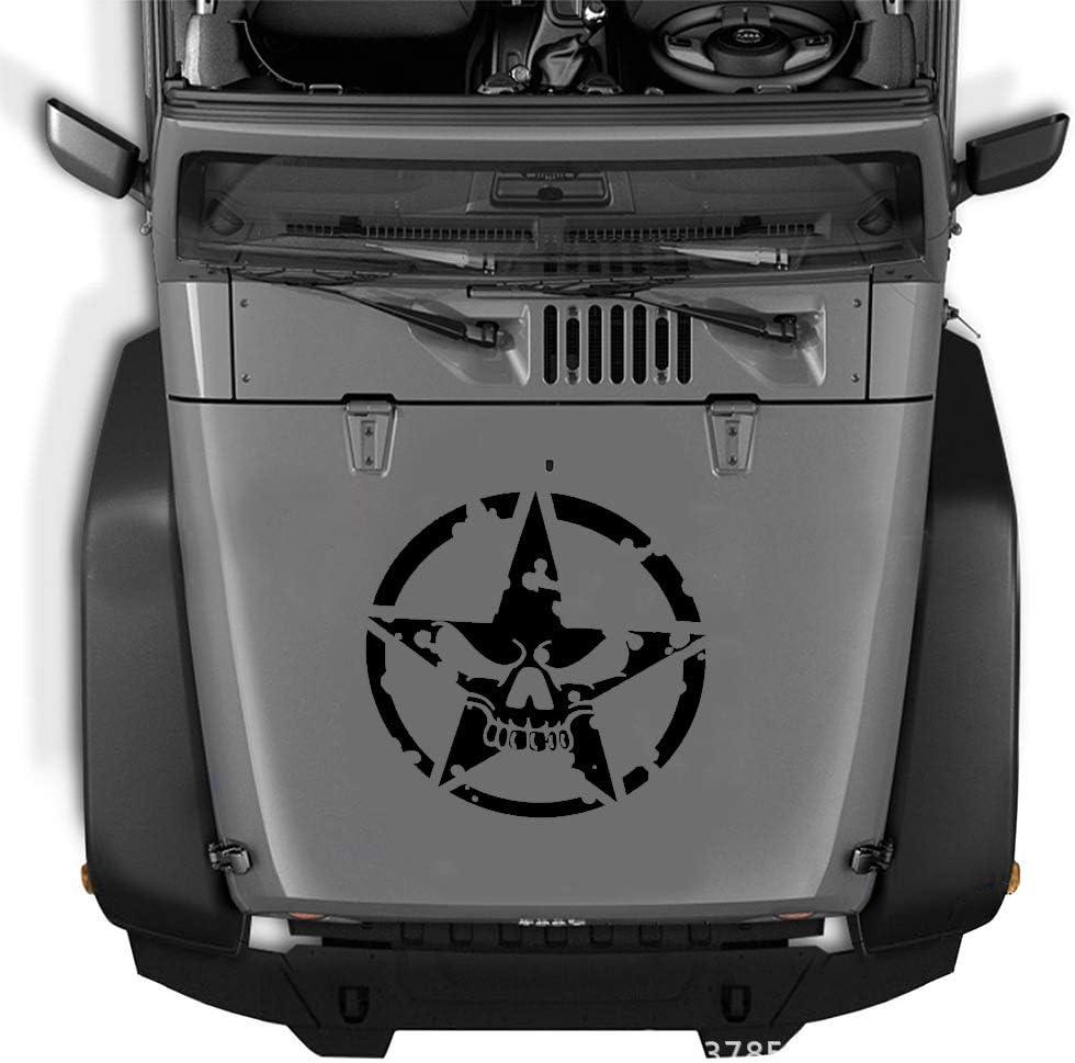 Black 1 Pack Skull Star Decals Stickers Practlsol Car Hood Decal Universal Scratch Hidden Auto Car Sticker Vinyl Graphic Decals for Cars//Truck//Ford//Jeep Wrangler//Vans