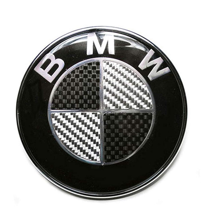 弾薬疑い葡萄BMW-ステアリングホイール用センターエンブレム、45mmΦ、カーボン調-黒/銀