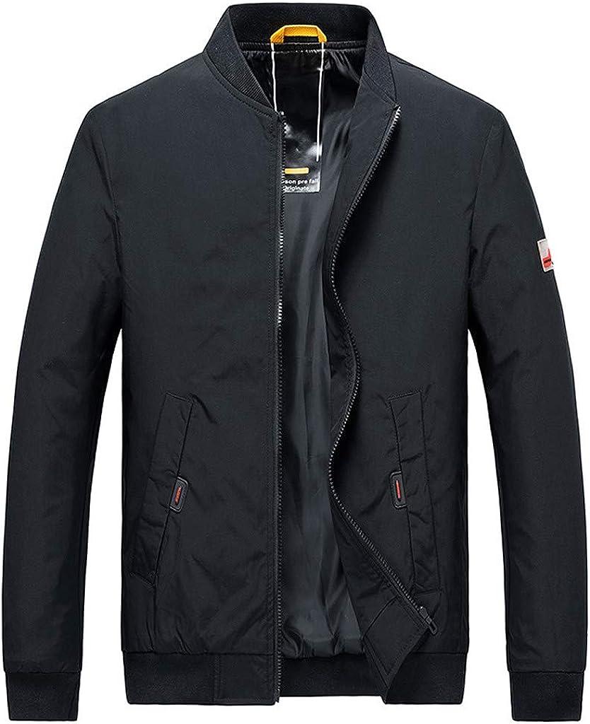 FEISI22㉿ Men's Front-Zip Hooded Rain Jacket Casual Jacket Outdoor Sportswear Windbreaker Lightweight Bomber Coats