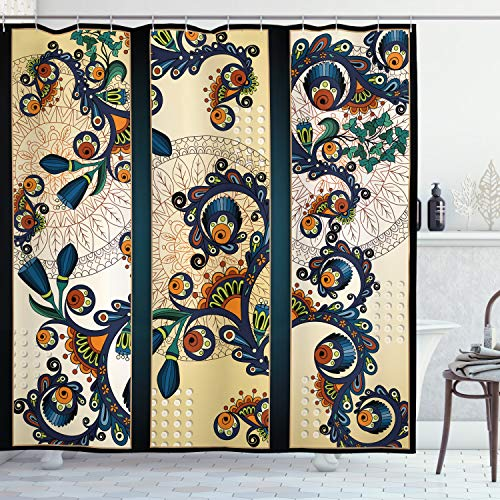 Ambesonne Abstract Shower Curtain, Paisley Batik Floral Design Hand Drawn Ornament Artwork, Cloth Fabric Bathroom Decor Set with Hooks, 84' Long Extra, Navy Blue