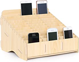 Loghot Wooden 36 Storage Compartments Multifunctional Storage Box for Cell Phones Holder Desk Supplies Organizer (Maple)