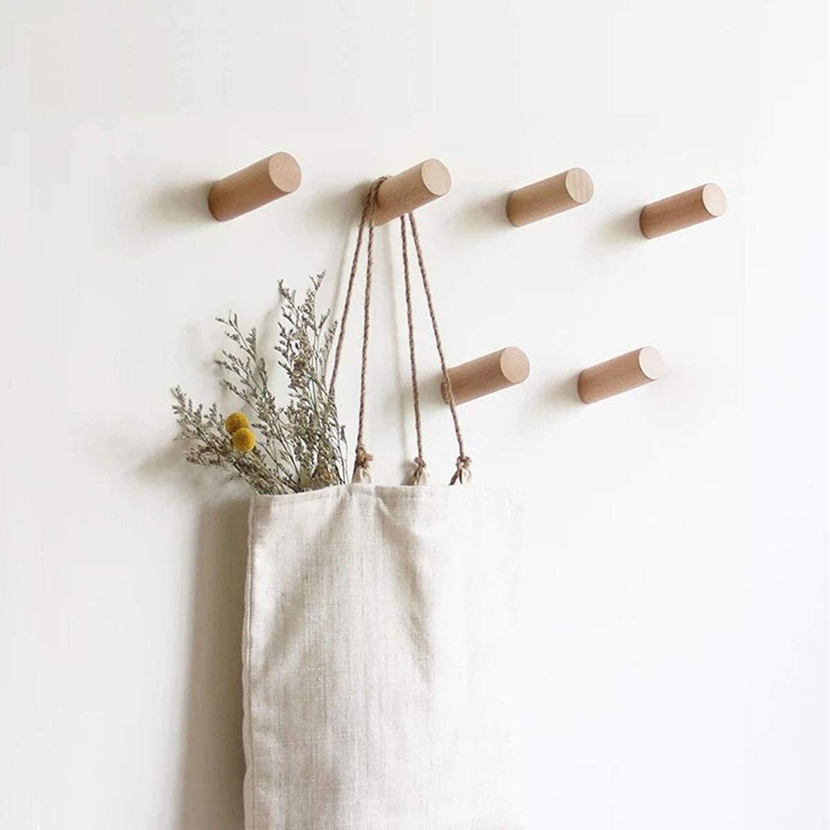 HomeDo Natural Wooden Coat Hooks Wall Mounted Vintage Single Organizer Hangers Beech-2pcs, 3inch Handmade Craft Hat Rack Hat Hanger