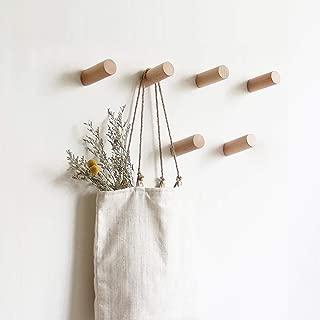 HomeDo Natural Wooden Coat Hooks Wall Mounted Vintage Single Organizer Hangers, Handmade Craft Hat Rack Hat Hanger(Beech-6pcs, 3inch)