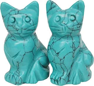 Gemgogo 2 Pcs Synthetic Green Howlite Turquoise Pocket Carved Lucky Cat Crystals and Healing Stones Figurines Collectibles...