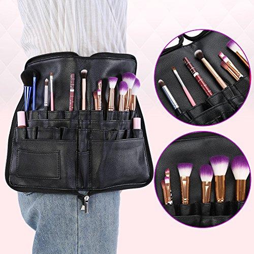 Poches de Maquillage Brosse, PU Pochette de Pinceaux Maquillage Cosmétique Professionnelle Sac Maquillage avec Tablier Ceinture pour Professionnel Cosmétiques.