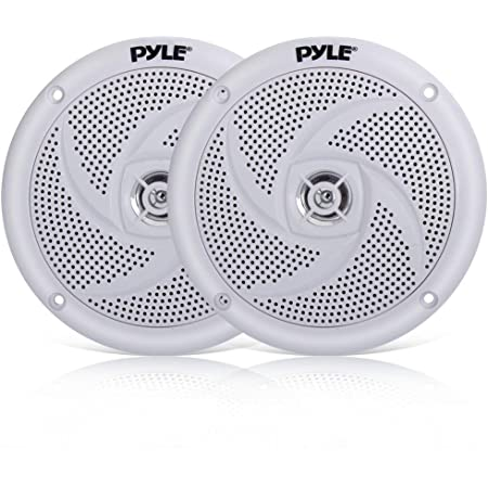 Pyle Marine Speakers - 5.25 Inch 2 Way Waterproof and Weather Resistant Outdoor Audio Stereo Sound System with 180 Watt Power and Low Profile Slim Style - 1 Pair - PLMRS5W (White)