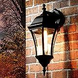 Elégante applique murale d'extérieur noire WARSCHAU Aluminium verre aluminium H:44cm Lanterne Lanterne Jardin Lampe Balcon Terrasse