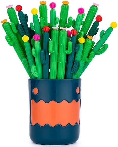 RECHENG cactus black gel ink pens,with pen holder,Five novel styles,20pcs Set,cute fun writing pens,Best choice for School Office Student Supplies