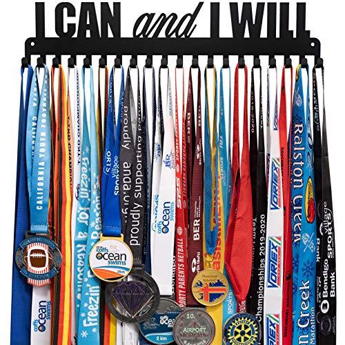 Lapetale Fashion Race Sport Marathon Medaillenhalter Aufhänger Display Rack Rahmen mit 20 Haken I Can and I Will für 40 Medaillen, stabile schwarze Farben