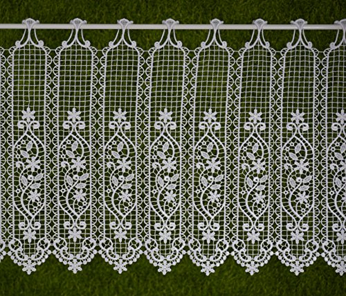 Gustav Gerster Visillo a medida, cortina de ganchillo de láminas, cortina corta, estilo rústico, altura de 60 cm, ancho de la cortina a elegir en pasos de 7 cm