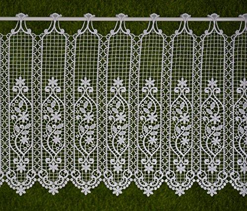 Gustav Gerster Visillo a medida, ganchillo, cortina de láminas, cortina corta, estilo rústico, con encaje, nostálgico, altura de 60 cm, ancho de la cortina a elegir en pasos de 7 cm