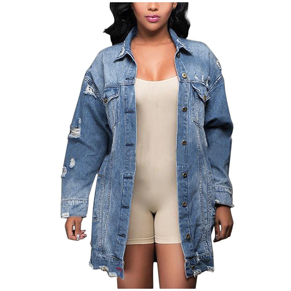 Padaleks Women's Plus Size Ripped Distressed Denim Jacket Vintage Boyfriend Button Down Jeans Coat with Pocket