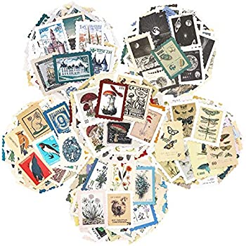 Vintage Postage Stamp Stickers Set  276 Pieces  - Botanical Deco Sticker for Scrapbooking Bullet Journaling Junk Journal Planners Bujo Travel Diary Nature Plant Ephemera