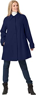 Woman Within Women's Plus Size Wool-Blend Classic A-Line Coat