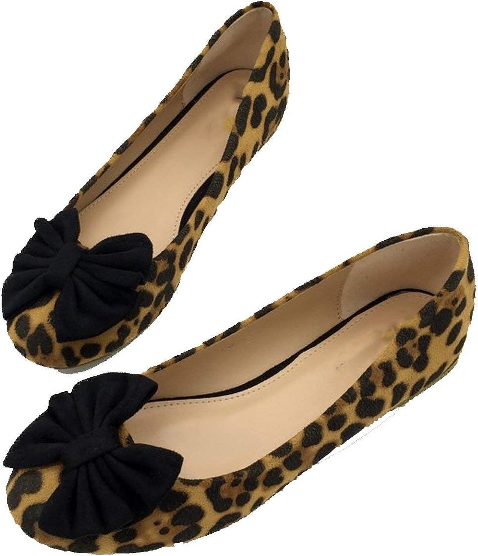 Women's Flats Leopard Print Bowtie Spring Autumn Flock Round Toe Slip On Ballet Flats Casual Boat shoes